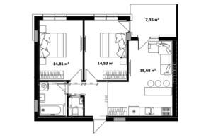 ЖК River Land: планування 2-кімнатної квартири 66.7 м²