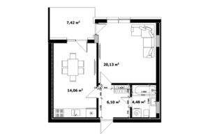 ЖК River Land: планування 1-кімнатної квартири 51.6 м²