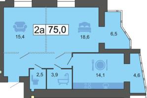 ЖК River Park: планировка 2-комнатной квартиры 75 м²