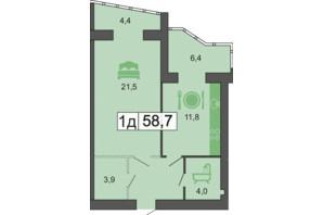 ЖК River Park: планировка 1-комнатной квартиры 59.4 м²
