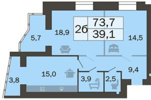 ЖК River Park: планировка 2-комнатной квартиры 75.1 м²