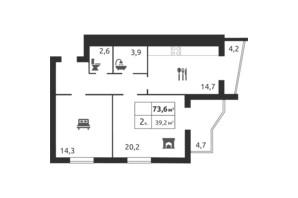 ЖК River Park: планировка 2-комнатной квартиры 77.4 м²