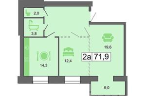 ЖК River Park: планировка 2-комнатной квартиры 72.1 м²
