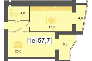 ЖК River Park: планировка 1-комнатной квартиры 57.7 м²