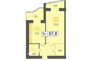 ЖК River Park: планировка 1-комнатной квартиры 57.9 м²
