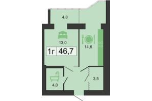 ЖК River Park: планировка 1-комнатной квартиры 46.7 м²