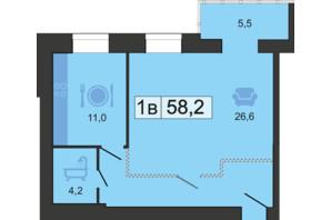 ЖК River Park: планировка 1-комнатной квартиры 59 м²