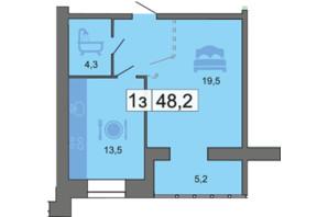 ЖК River Park: планировка 1-комнатной квартиры 48.2 м²
