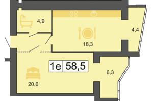 ЖК River Park: планування 1-кімнатної квартири 59.1 м²