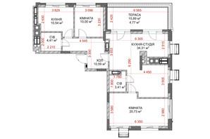 ЖК Riverside: планування 3-кімнатної квартири 98.76 м²