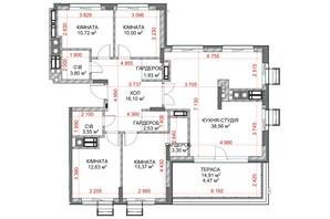 ЖК Riverside: планування 4-кімнатної квартири 120.96 м²