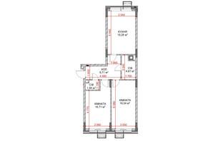 ЖК Riverside: планування 2-кімнатної квартири 69.83 м²