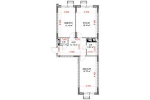 ЖК Riverside: планування 2-кімнатної квартири 69.85 м²