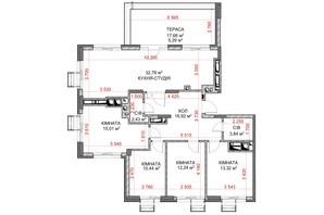 ЖК Riverside: планування 4-кімнатної квартири 112.27 м²