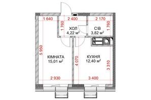ЖК Riverside: планування 1-кімнатної квартири 35.45 м²