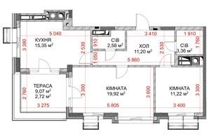 ЖК Riverside: планування 2-кімнатної квартири 63.63 м²