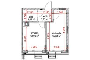 ЖК Riverside: планування 1-кімнатної квартири 36.19 м²