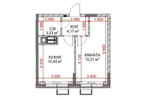 ЖК Riverside: планування 1-кімнатної квартири 35.35 м²