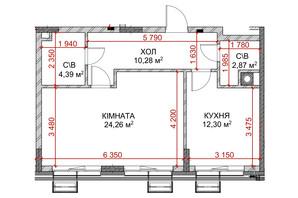 ЖК Riverside: планування 1-кімнатної квартири 54.1 м²