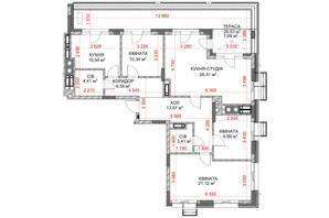 ЖК Riverside: планування 4-кімнатної квартири 114.63 м²