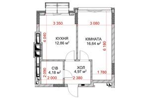 ЖК Riverside: планування 1-кімнатної квартири 37.25 м²