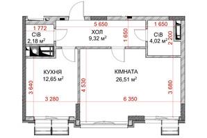 ЖК Riverside: планування 1-кімнатної квартири 39.67 м²