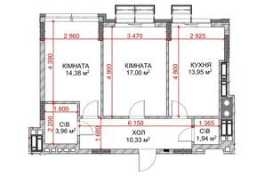 ЖК Riverside: планування 2-кімнатної квартири 61.56 м²