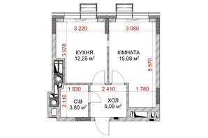 ЖК Riverside: планування 1-кімнатної квартири 36.22 м²