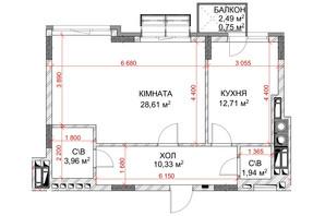 ЖК Riverside: планування 1-кімнатної квартири 58.3 м²