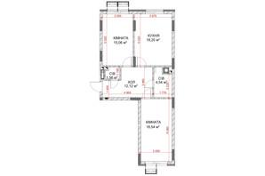 ЖК Riverside: планування 2-кімнатної квартири 69.87 м²
