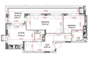 ЖК Riverside: планування 3-кімнатної квартири 75.88 м²