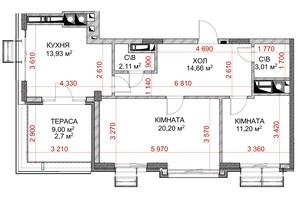 ЖК Riverside: планування 2-кімнатної квартири 63.6 м²