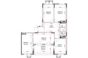 ЖК Riverside: планування 4-кімнатної квартири 114.77 м²