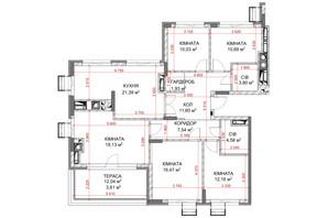 ЖК Riverside: планування 5-кімнатної квартири 122.93 м²