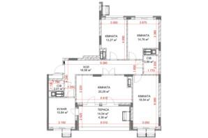 ЖК Riverside: планування 4-кімнатної квартири 106.54 м²