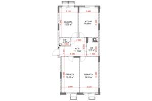 ЖК Riverside: планування 3-кімнатної квартири 88.84 м²
