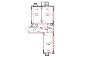 ЖК Riverside: планування 2-кімнатної квартири 64.52 м²