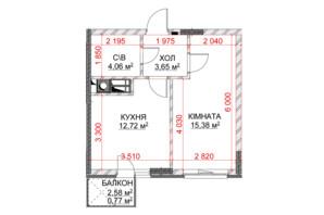 ЖК Riverside: планування 1-кімнатної квартири 36.58 м²