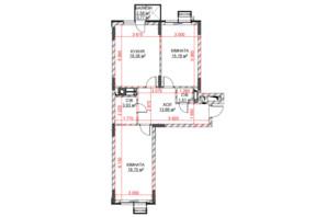 ЖК Riverside: планування 2-кімнатної квартири 72.13 м²