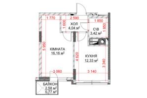 ЖК Riverside: планування 1-кімнатної квартири 36.41 м²