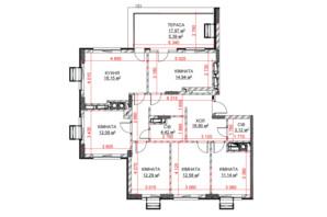 ЖК Riverside: планування 5-кімнатної квартири 113.02 м²