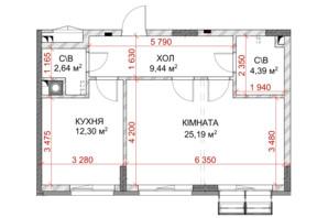 ЖК Riverside: планування 1-кімнатної квартири 41.93 м²