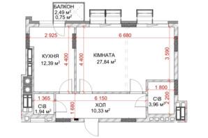 ЖК Riverside: планування 1-кімнатної квартири 42.36 м²