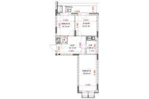 ЖК Riverside: планування 2-кімнатної квартири 41.7 м²