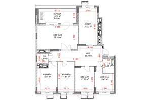 ЖК Riverside: планування 5-кімнатної квартири 111.46 м²