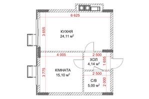 ЖК Riverside: планування 1-кімнатної квартири 48.35 м²