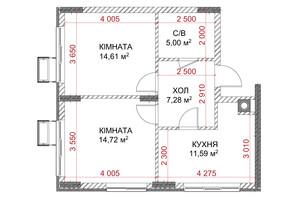 ЖК Riverside: планування 2-кімнатної квартири 53.2 м²