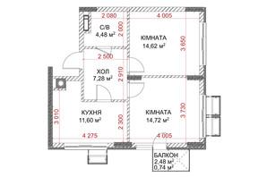 ЖК Riverside: планування 2-кімнатної квартири 53.44 м²