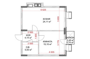 ЖК Riverside: планування 1-кімнатної квартири 49.09 м²