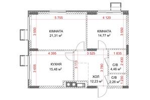 ЖК Riverside: планування 2-кімнатної квартири 56.42 м²